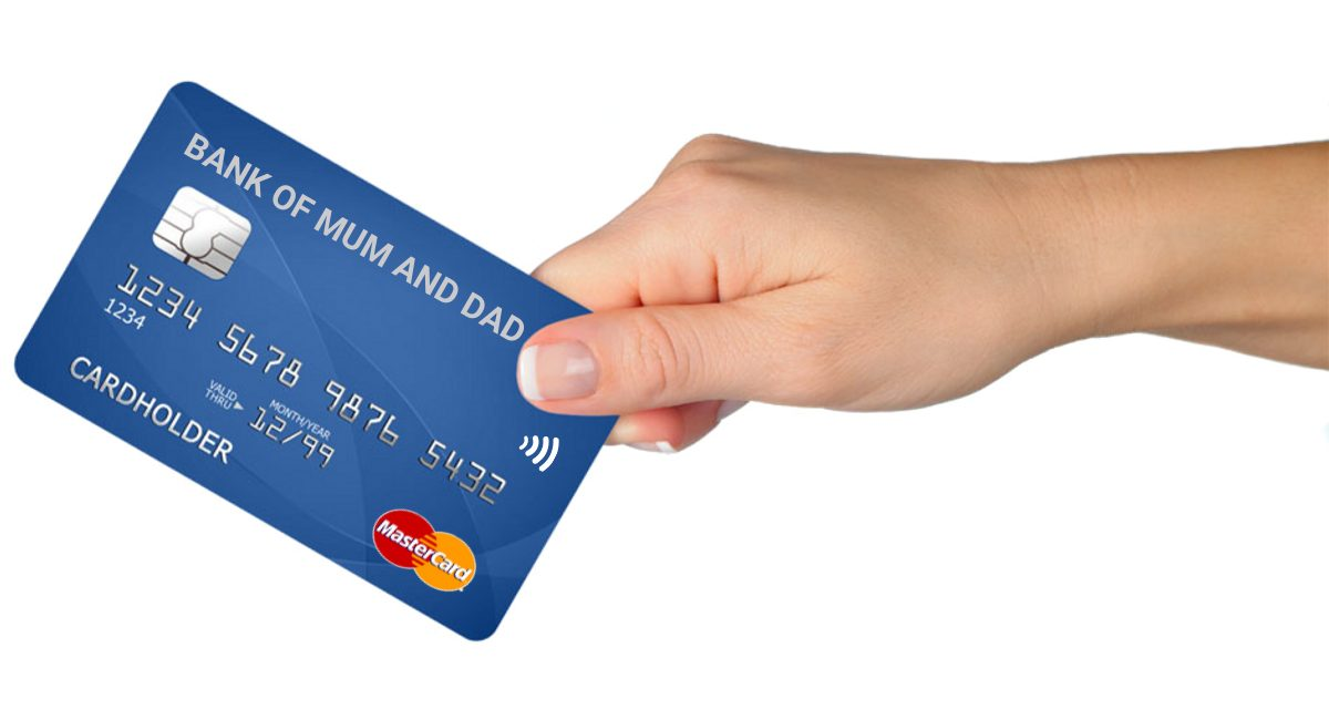Bank of Mum and Dad | blue credit card being handed